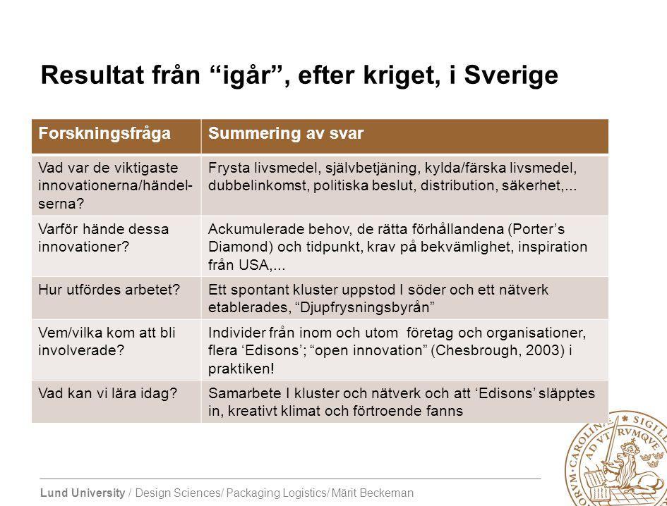 Resultat från igår , efter kriget, i Sverige