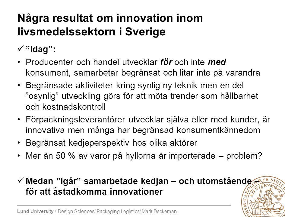 Några resultat om innovation inom livsmedelssektorn i Sverige