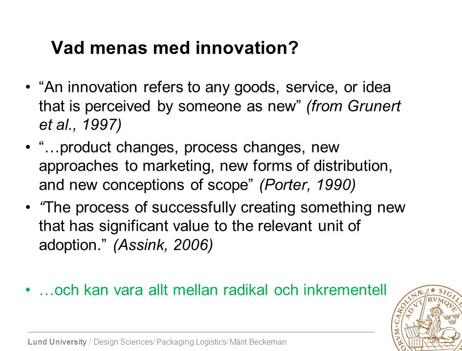 Vad menas med innovation