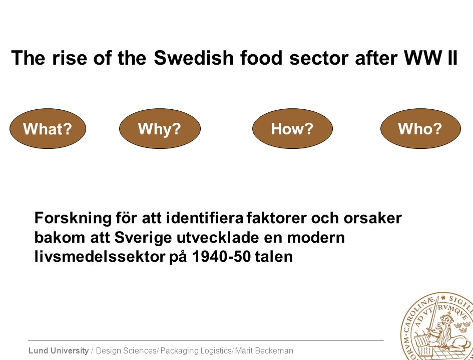The rise of the Swedish food sector after WW II