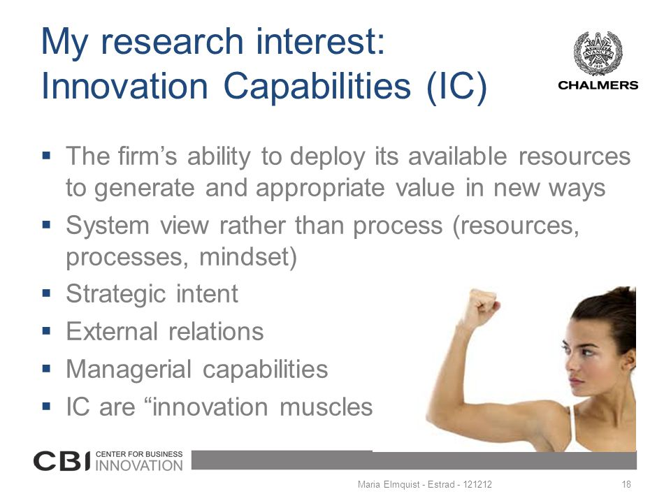 My research interest: Innovation Capabilities (IC)
