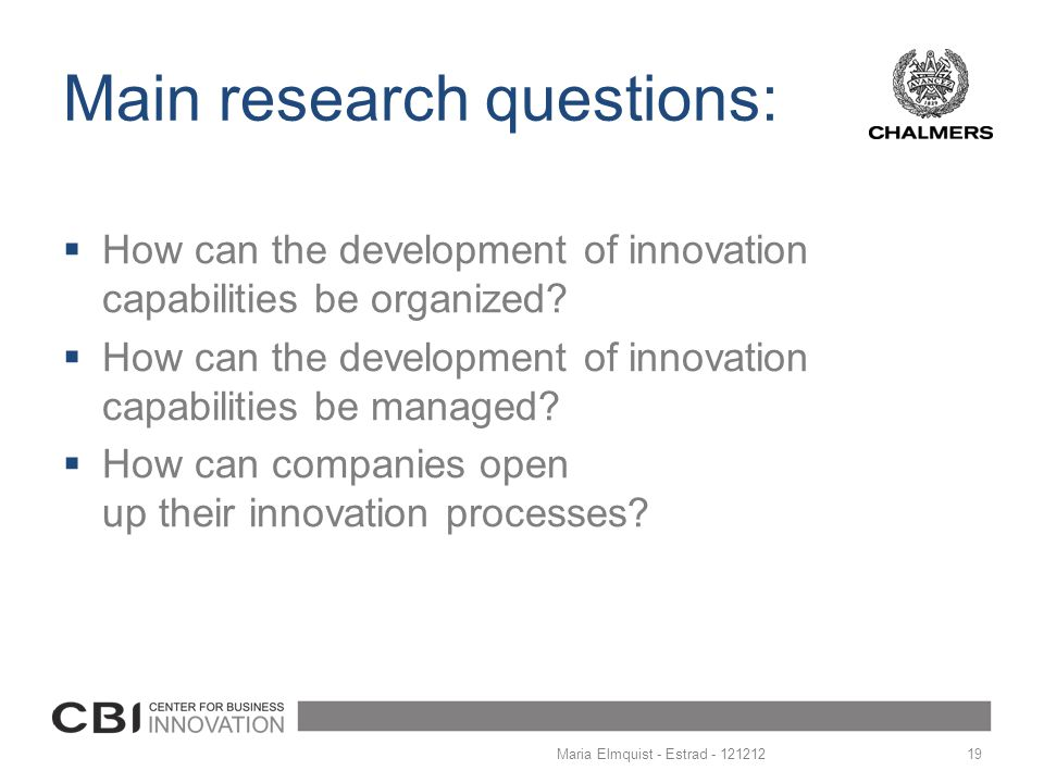 Main research questions: