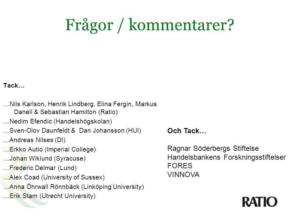 Frågor / kommentarer Och Tack… Ragnar Söderbergs Stiftelse