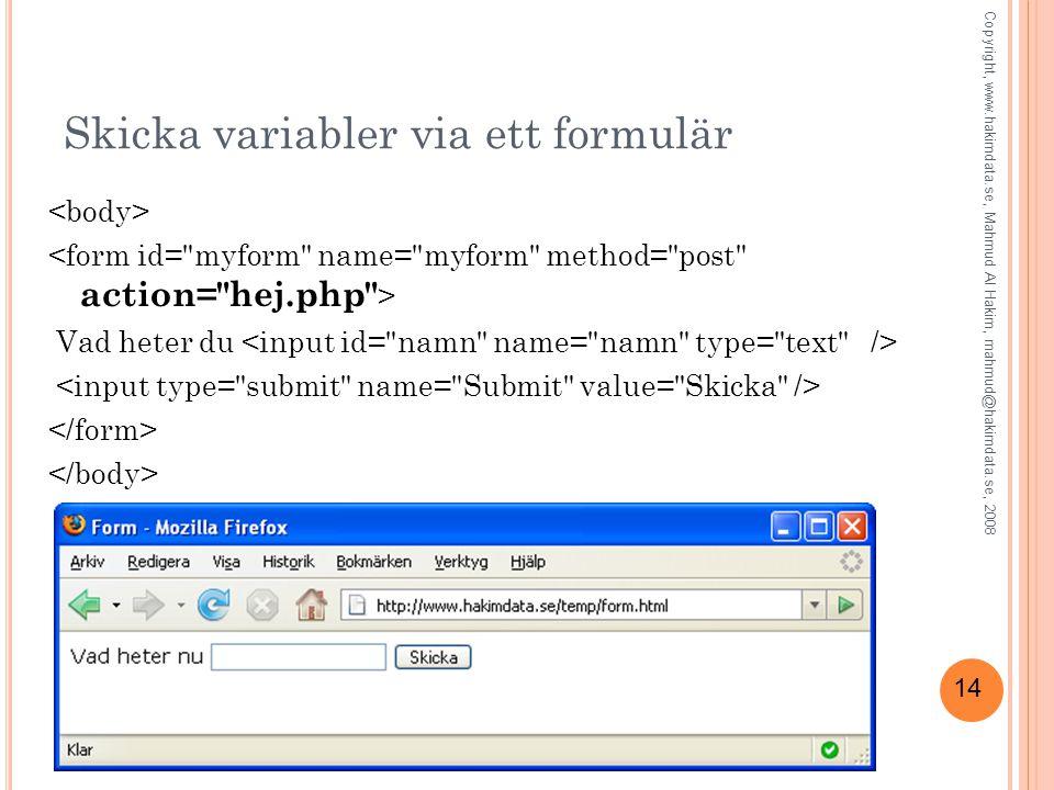 Skicka variabler via ett formulär