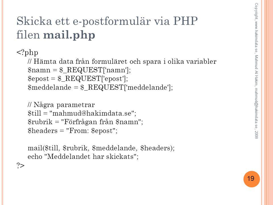 Skicka ett e-postformulär via PHP filen mail.php
