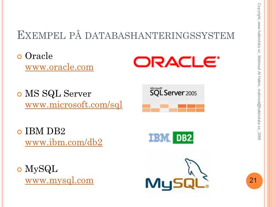 Exempel på databashanteringssystem