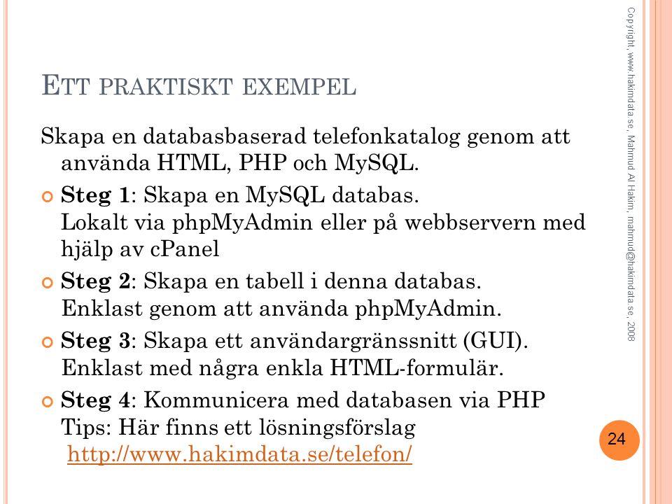Ett praktiskt exempel Skapa en databasbaserad telefonkatalog genom att använda HTML, PHP och MySQL.