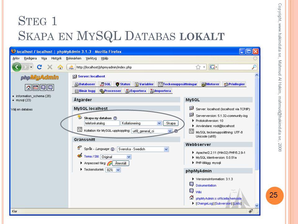 Steg 1 Skapa en MySQL Databas lokalt