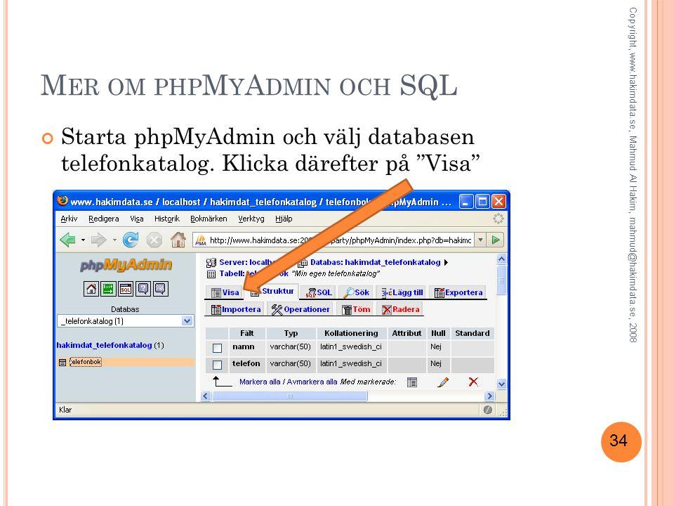 Mer om phpMyAdmin och SQL