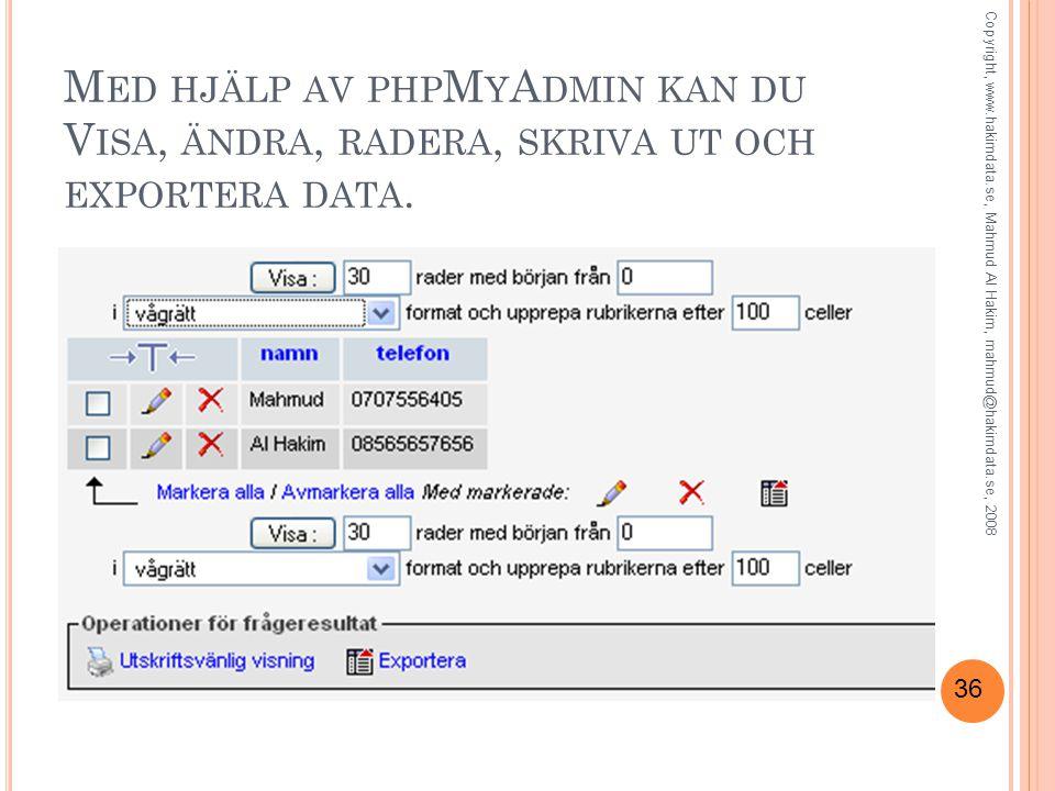 Med hjälp av phpMyAdmin kan du Visa, ändra, radera, skriva ut och exportera data.