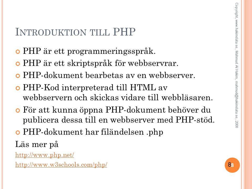 Introduktion till PHP PHP är ett programmeringsspråk.