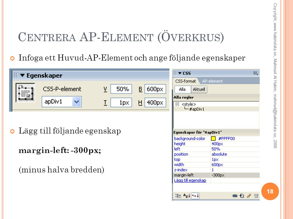 Centrera AP-Element (Överkrus)