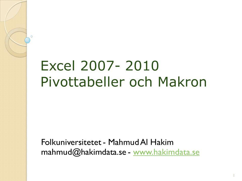 Excel 2007- 2010 Pivottabeller och Makron