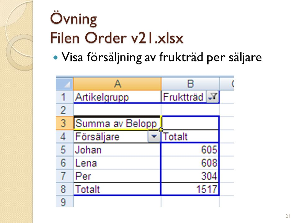 Övning Filen Order v21.xlsx