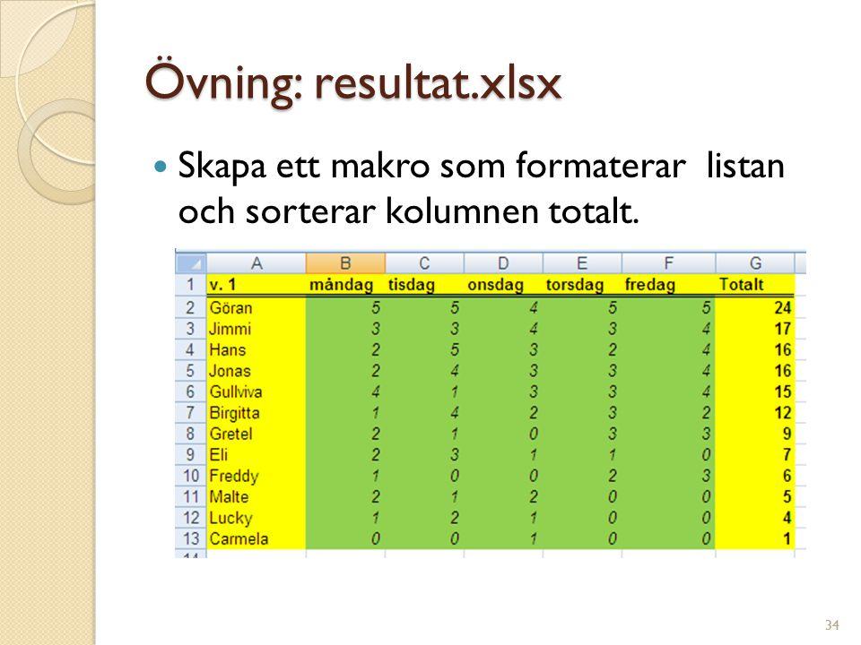 Övning: resultat.xlsx Skapa ett makro som formaterar listan och sorterar kolumnen totalt. 34
