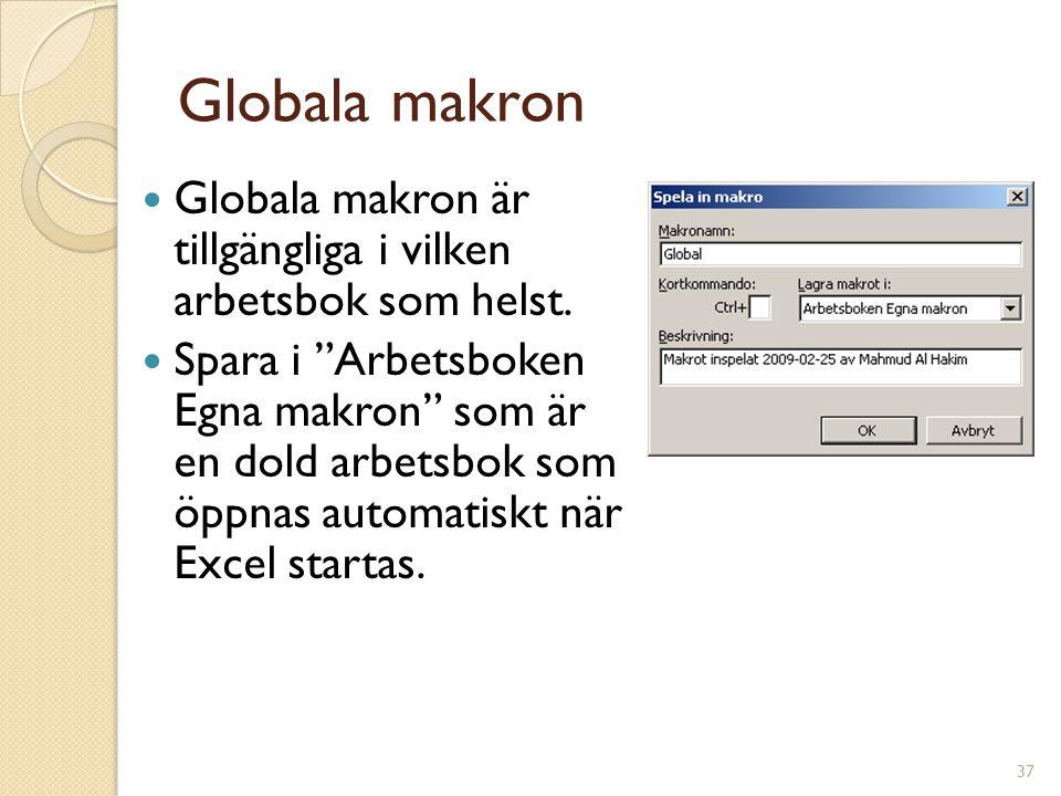 Globala makron Globala makron är tillgängliga i vilken arbetsbok som helst.