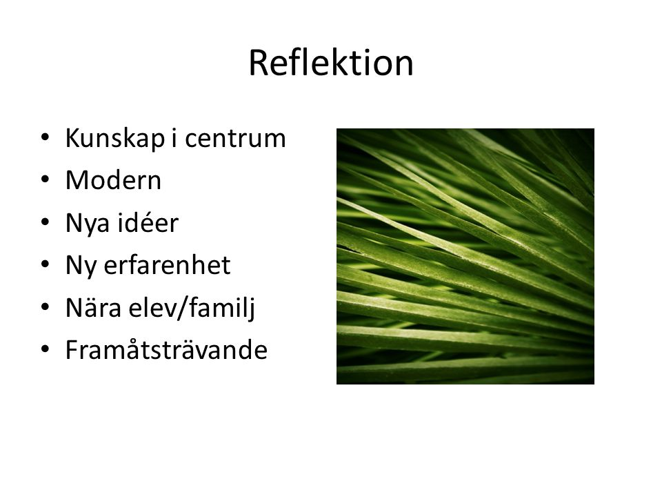 Reflektion Kunskap i centrum Modern Nya idéer Ny erfarenhet