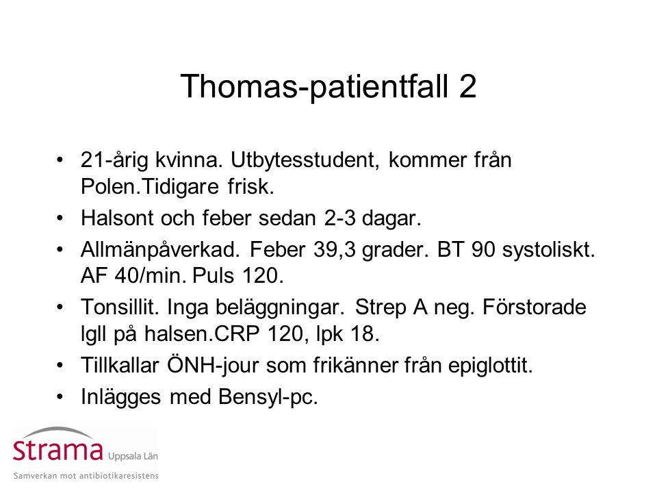 Thomas-patientfall 2 21-årig kvinna. Utbytesstudent, kommer från Polen.Tidigare frisk. Halsont och feber sedan 2-3 dagar.