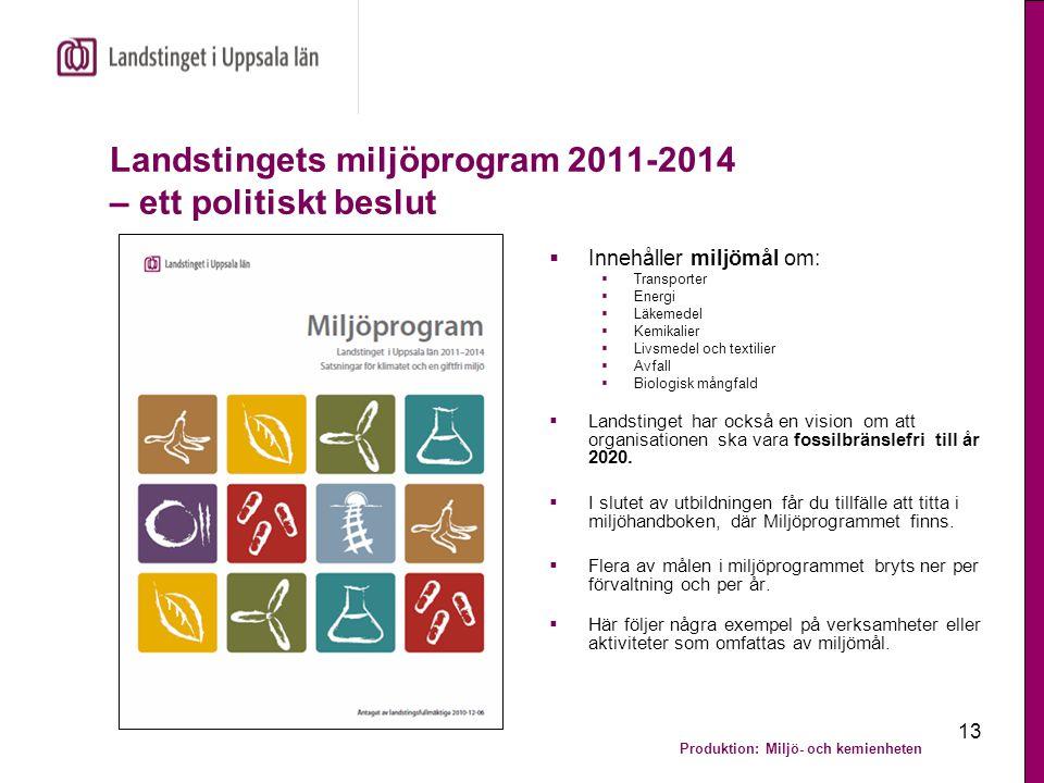 Landstingets miljöprogram 2011-2014 – ett politiskt beslut