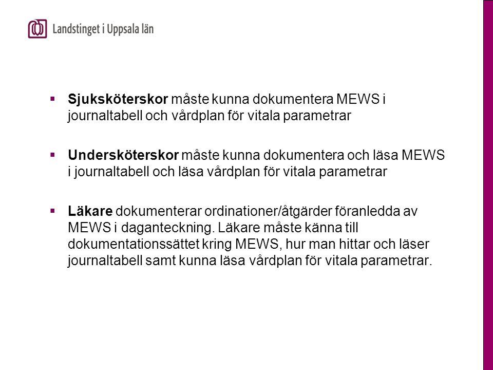 Sjuksköterskor måste kunna dokumentera MEWS i journaltabell och vårdplan för vitala parametrar