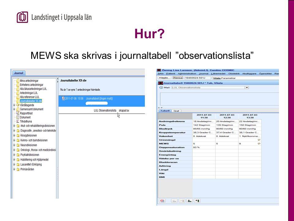 Hur MEWS ska skrivas i journaltabell observationslista