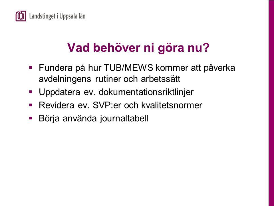 Vad behöver ni göra nu Fundera på hur TUB/MEWS kommer att påverka avdelningens rutiner och arbetssätt.