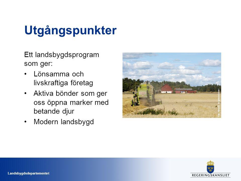 Utgångspunkter Ett landsbygdsprogram som ger: