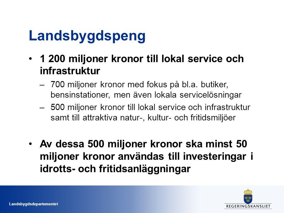 Landsbygdspeng 1 200 miljoner kronor till lokal service och infrastruktur.