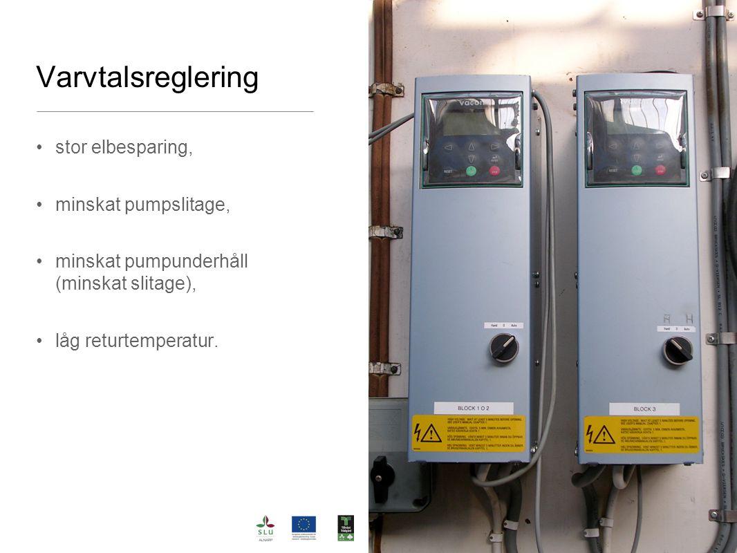 Varvtalsreglering stor elbesparing, minskat pumpslitage,
