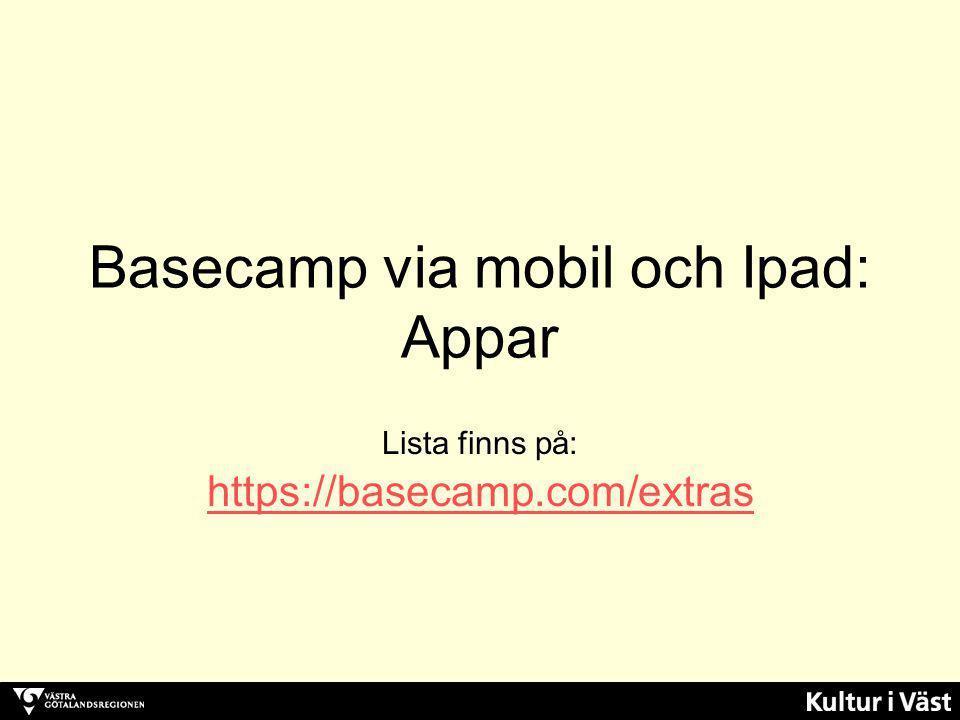 Basecamp via mobil och Ipad: Appar
