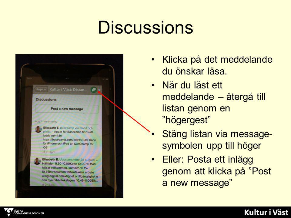 Discussions Klicka på det meddelande du önskar läsa.
