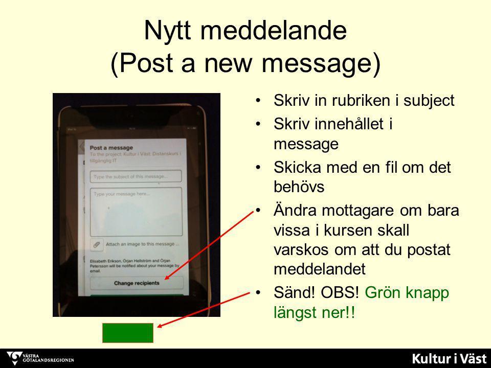 Nytt meddelande (Post a new message)
