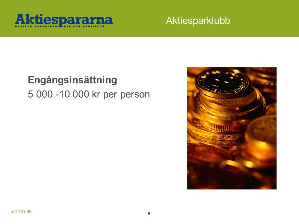 Aktiesparklubb Engångsinsättning 5 000 -10 000 kr per person Alt 1.