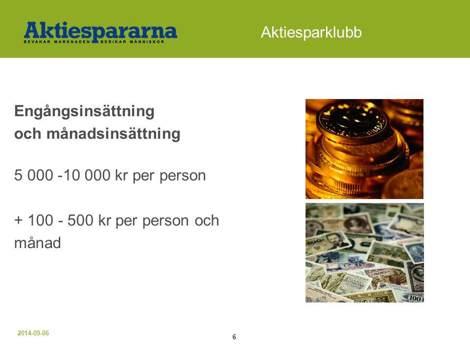 Aktiesparklubb Engångsinsättning och månadsinsättning