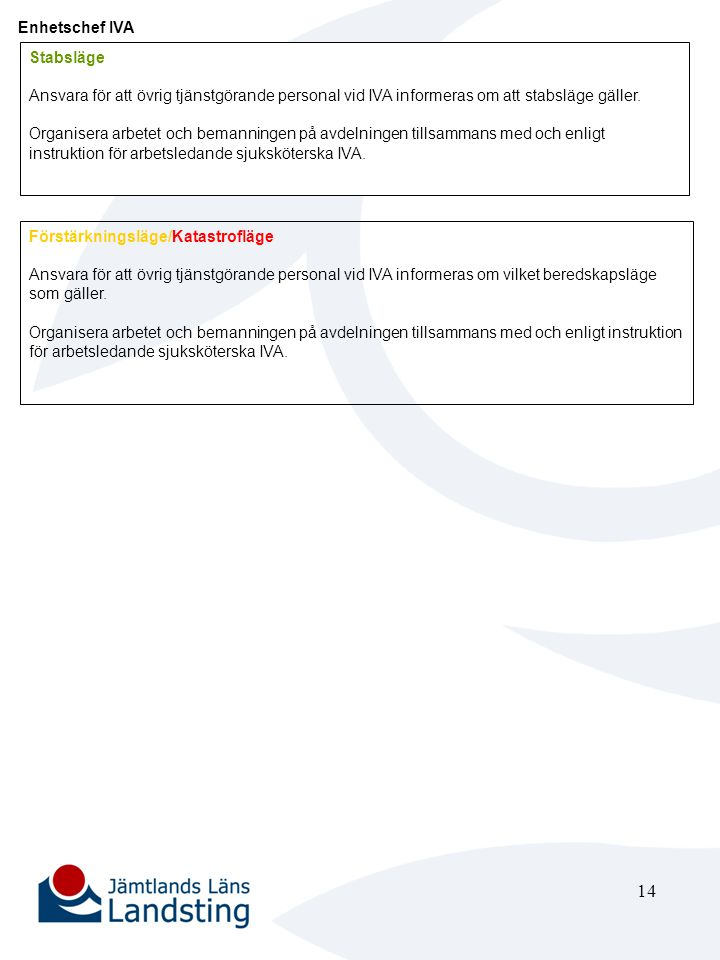 Enhetschef IVA Stabsläge. Ansvara för att övrig tjänstgörande personal vid IVA informeras om att stabsläge gäller.