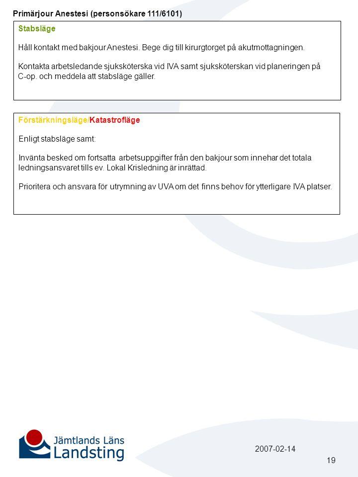 Primärjour Anestesi (personsökare 111/6101)