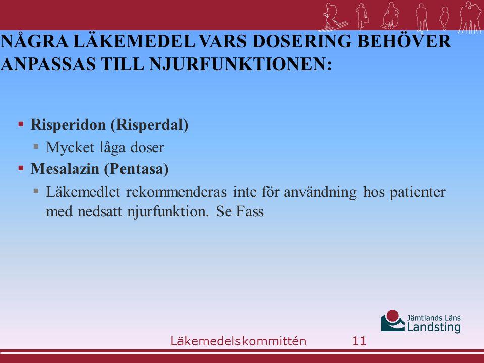 Några läkemedel vars dosering behöver anpassas till njurfunktionen: