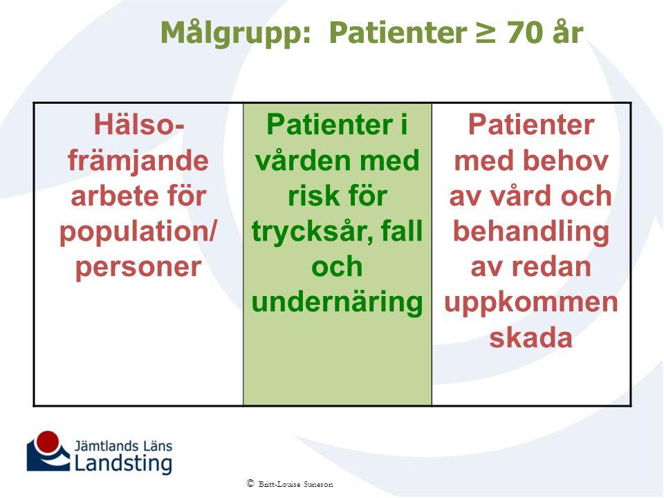 Målgrupp: Patienter ≥ 70 år