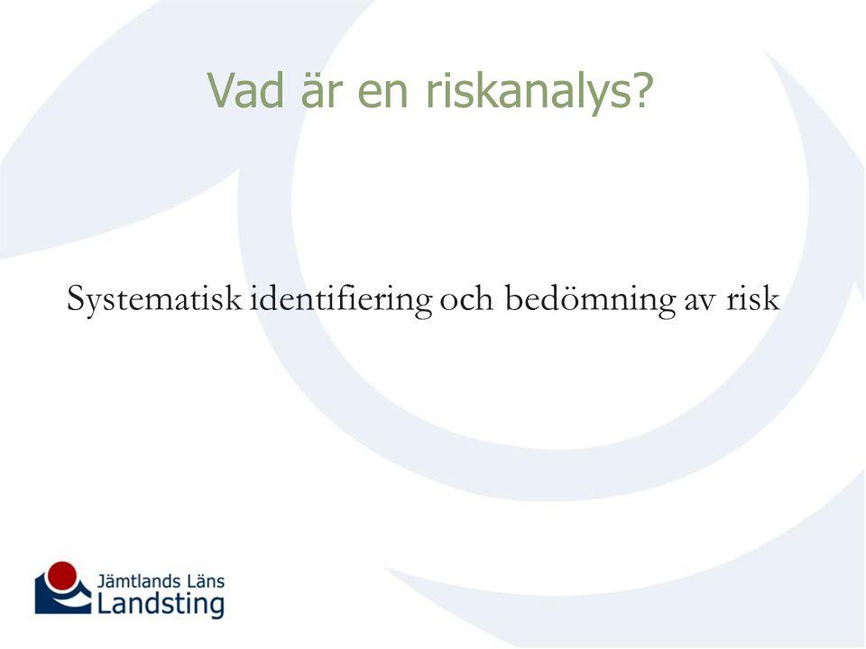 Vad är en riskanalys Systematisk identifiering och bedömning av risk