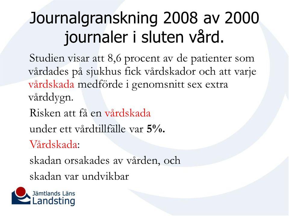Journalgranskning 2008 av 2000 journaler i sluten vård.