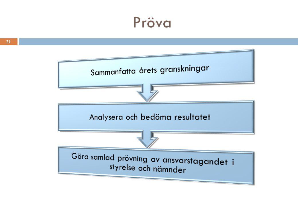 Pröva Sammanfatta årets granskningar Analysera och bedöma resultatet