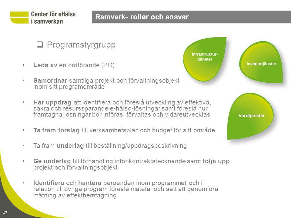 Programstyrgrupp Ramverk- roller och ansvar Leds av en ordförande (PO)