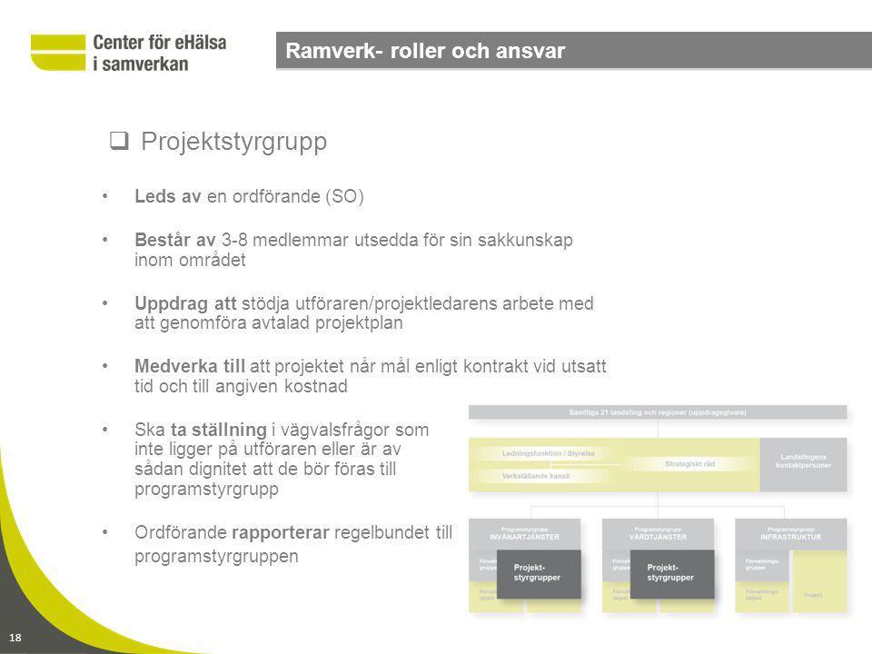 Projektstyrgrupp Ramverk- roller och ansvar Leds av en ordförande (SO)
