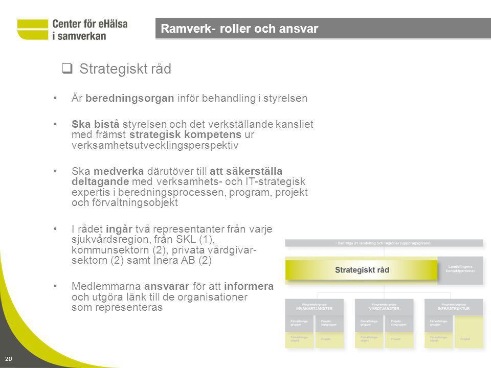 Strategiskt råd Ramverk- roller och ansvar