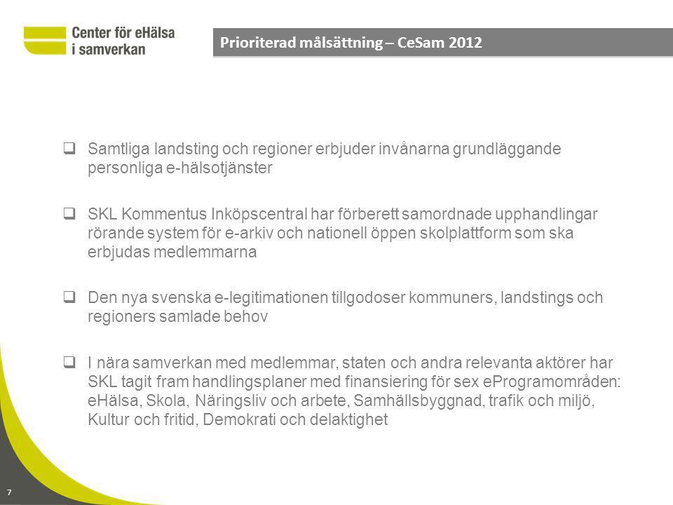 Prioriterad målsättning – CeSam 2012
