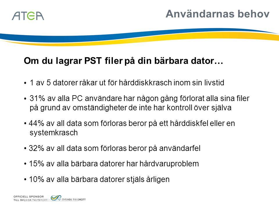 Användarnas behov Om du lagrar PST filer på din bärbara dator…