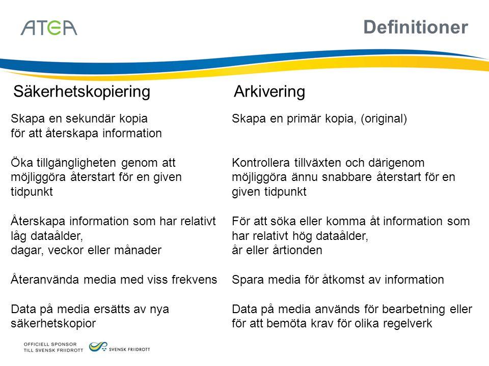 Definitioner Säkerhetskopiering Arkivering Skapa en sekundär kopia