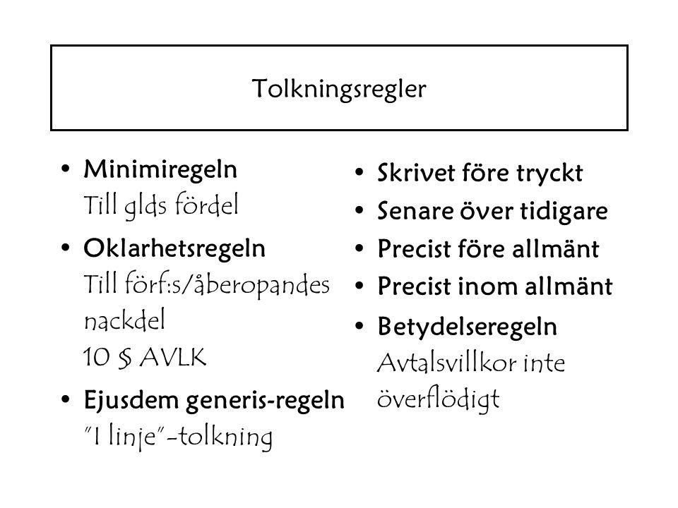 Tolkningsregler Minimiregeln Till glds fördel. Oklarhetsregeln Till förf:s/åberopandes nackdel 10 § AVLK.
