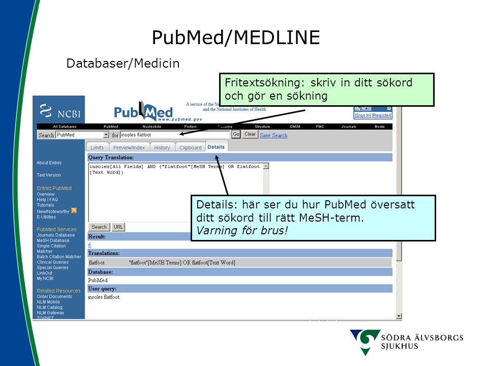 PubMed/MEDLINE Databaser/Medicin