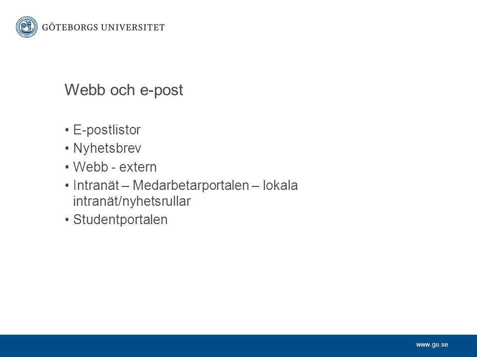 Webb och e-post E-postlistor Nyhetsbrev Webb - extern